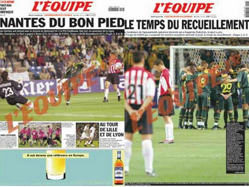 Beside Sport - 11 septembre 2001: Une date qui a marqué le monde du sport - La une de l'Equipe le 12 septembre (à gauche) et la une de l'Equipe le 13 septembre (à droite) -