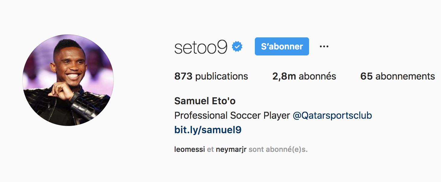Beside Sport - Notre «InStargram» de la semaine est Samuel Eto'o -  -