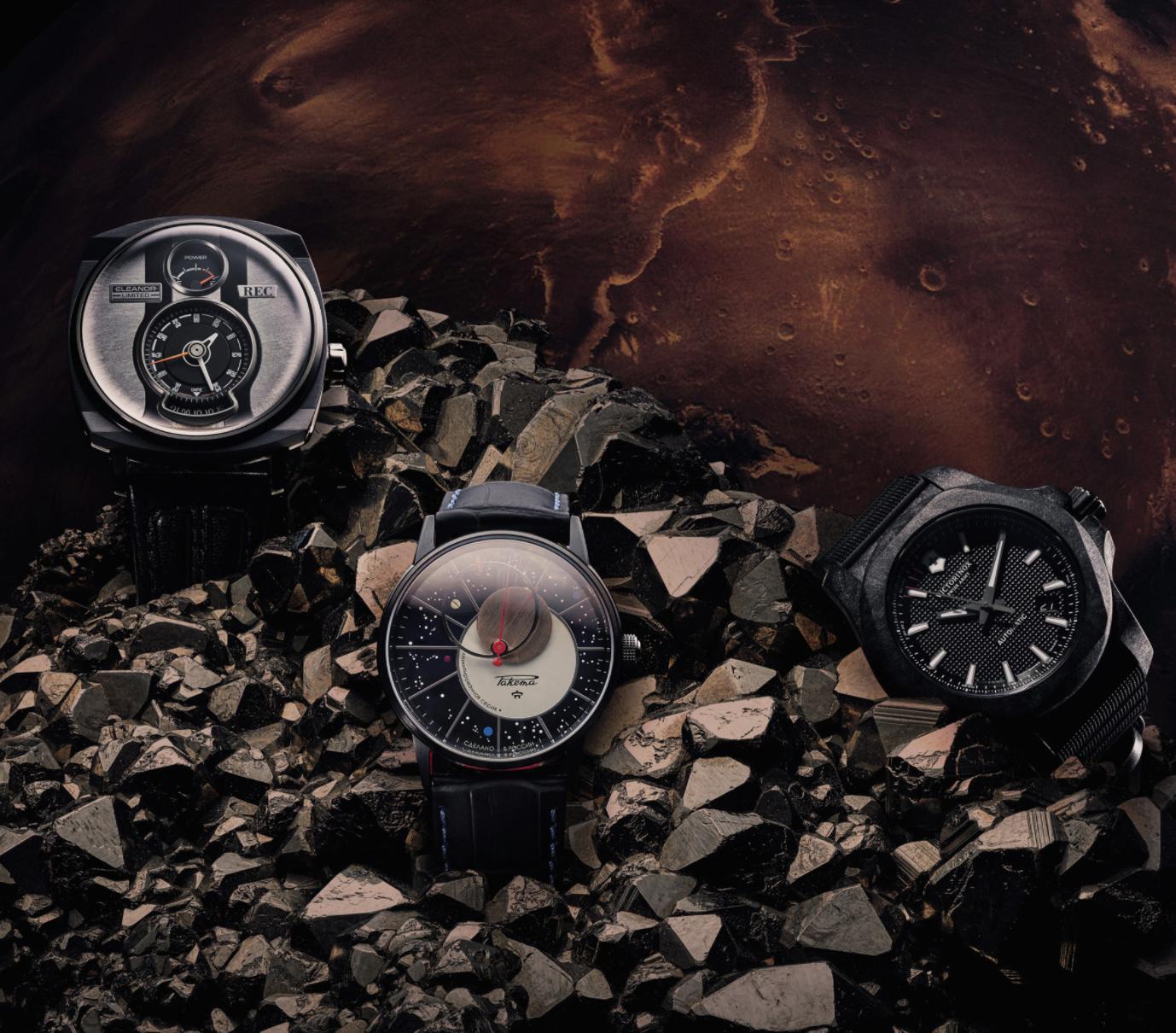 Beside Sport - Montres aventurières - De gauche à droite: REC Watches Eleanor P51 – Raketa Copernicus – Victorinox I.N.O.X Mechanical Carbon -