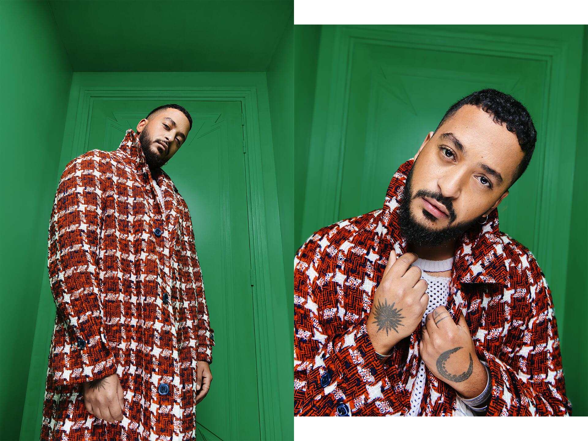 Beside Sport - Slimane, la musique dans la peau - Manteau en tweed GUCCI et top en coton LOUIS-GABRIEL NOUCHI -